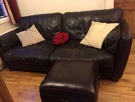 Freecycle Brown leather sofa and footstool