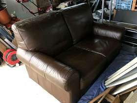 Freecycle Two seater dark brown leather sofa