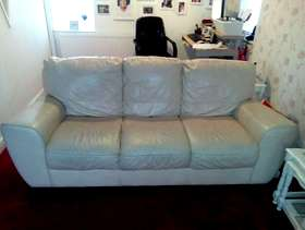 Freecycle 2 x 3 seater cream leather sofas