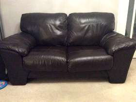 Freecycle Two seater brown leather sofa