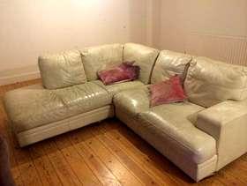 Freecycle Cream leather corner sofa