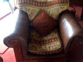 Freecycle 3 seater leather wood and fabric sofa plus armchair