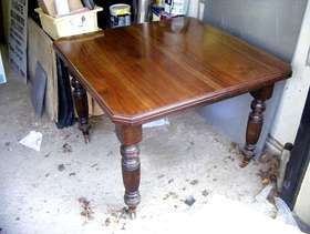 Freecycle Victorian solid flame mahogany wind out table