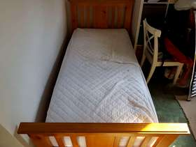 Freecycle Wooden single bed + mattress