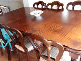 Freecycle Mahogany table and 8 chairs