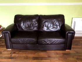 Freecycle Brown Leather 3 seater settee