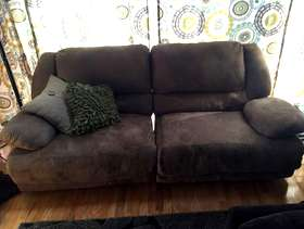 Freecycle 3 piece tan microfiber recliner couches