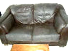 Freecycle Chocolate leather double sofa + matching pouffe