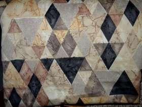 Freecycle Geometric Curtain Fabric (yellow/grey/black and grey triangles)