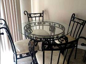 Freecycle Dining table with 4 chairs (Black & gold leaf painted)