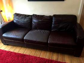 Freecycle 3 Seater Brown leather Sofa