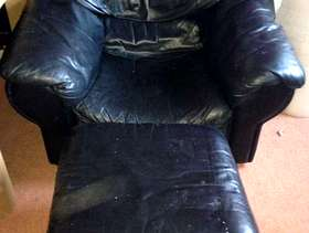 Freecycle Black leather chair with foot stool