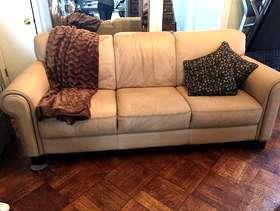 Freecycle Tan leather macy's sofa