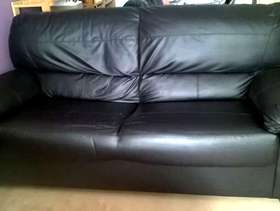 Freecycle Black faux leather 3 seater sofa (Chelford)