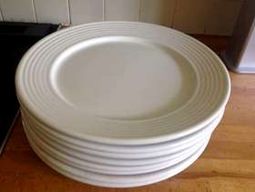 Freecycle Large white ceramic dinner plates X 8