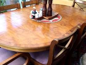 Freecycle Yew dining table and six chairs
