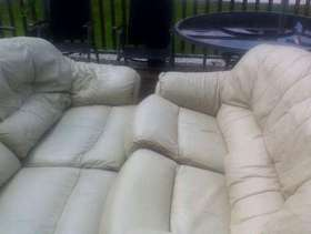 Freecycle 3&2&1 Seater Cream Leather Suite