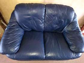 Freecycle Blue leather 2 seater sofa