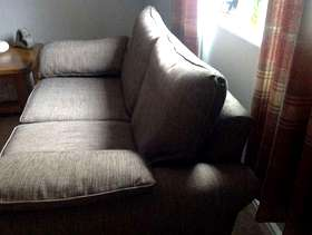 Freecycle 2 Seater brown fabric sofa