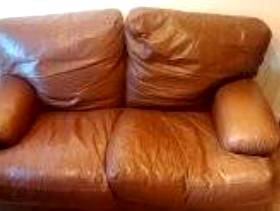 Freecycle Brown leather 2 seater sofa