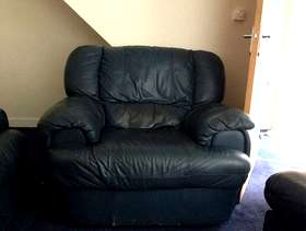 Freecycle Blue Leather single chair and puff