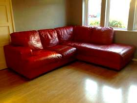 Freecycle Red Leather Corner Sofa