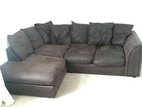 Freecycle Left hand corner sofa - dark brown faux leather