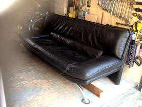 Freecycle Three seater black leather settee