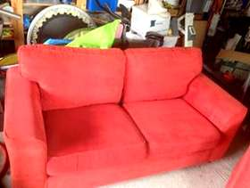 Freecycle 2 seater sofa and Chair in Terracota