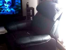 Freecycle Black leather recliner arm chsir