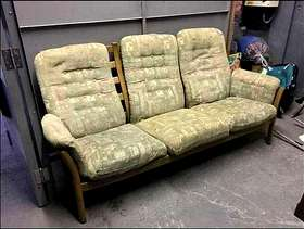 Freecycle 3 seater wooden framed sofa and matching chair