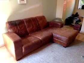Freecycle Brown leather corner sofa
