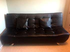 Freecycle 3 seater sofa bed, black faux leather