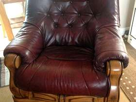 Freecycle Leather & Wood 3 piece suite