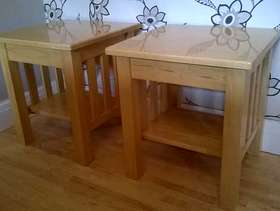 Freecycle Two quality very heavy solid wood bedside/side tables