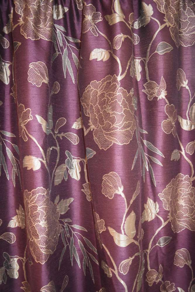Two Pairs Of Heavyweight Fully Lined Purple Gold Curtains