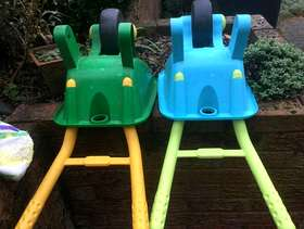 Freecycle 2 childrens' plastic wheelbarrows and 2 wheel scooter