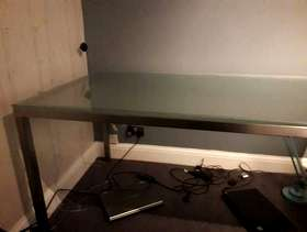 Freecycle Frosted glass and brushed steel dining table.