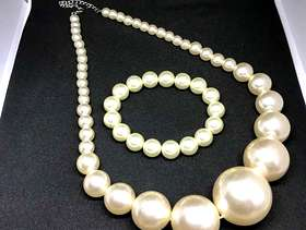 Freecycle Matching imitation Pearl necklace and bracelet set