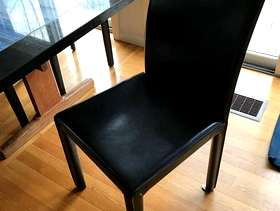 Freecycle Chairs (3) -- 3 black leatherette, dining table style, no ...