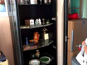 Freecycle Black glass display cabinet with light