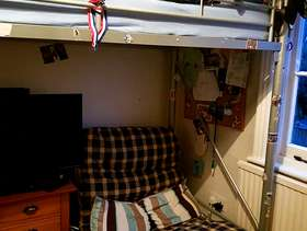 Freecycle Cabin bed with desk and single sofa/sofa bed underneath