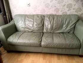 Freecycle Green leather sofa