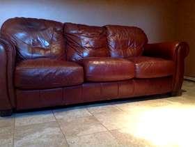 Freecycle Brown leather sofa