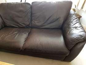 Freecycle 3 seater brown leather settee