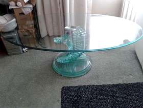 Freecycle Beautiful oval toughened glass coffee table with spiral twisted design ...