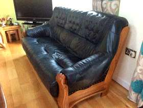 Freecycle 3 seater dark blue leather settee