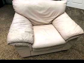 Freecycle FREE Leather Cream large Armchair few scuffs here and there ...