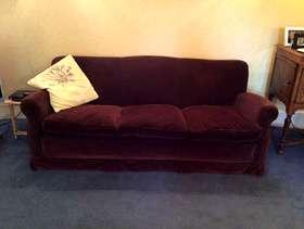 Freecycle Italian 3 seater sofa in brown velvet