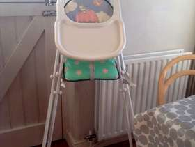 Freecycle Travel cot, plus folding high chair